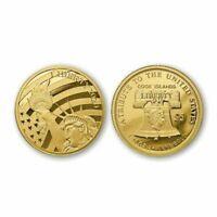 COOK ISLANDS $5 1/10 oz .24(%)Fine GOLD /.76(%) Fine COPPER Statue Liberty Coin