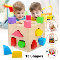 Wooden Toys Shape Sorter Puzzle Baby Toddler Buildings Educational Toys Gifts