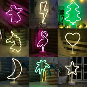 LED Neon Sign Lamp Background Night Light Xmas Wedding Room Romantic Home Decor