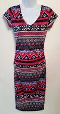 BONGO women's multi color formfitting aztec dress size S