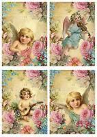 4 Card toppers Victorian Cherubs/Angels Card Making Scrap book Craft Supplies