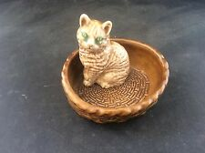 Vintage Wade Porcelain  Whimsie Cat in Basket Trinket Pin Dish Mint Condition