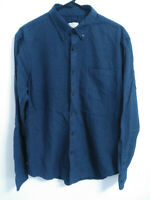 Club Monaco Mens Large Slim Fit Like Size Medium Navy Blue LS Button Up Shirt