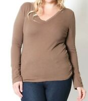 Womens Plus Size V Neck Shirt Long Sleeve Basic Plain Solid Classic Tee GT-3058X