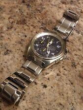 "Vintage Rare Seiko chronograph Quartz All Stainless Steel Mens Watch ""NICE"""