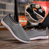Mens Breathable Sports Mesh Slip On Flats Athletic Sneakers Casual Walking-Shoes