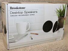 NEW Brookstone Wireless Bluetooth Rechargeable Desktop Speakers w/ Speakerp