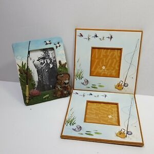 3D Fishing Frame 2 Flat Fishing Frames Household Decoration Collectible 3 PC