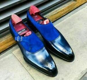New Men's Handmade Blue Suede And Black Leather Monk Strap Dress Formal shoes