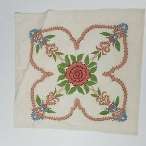 """14"""" UNFINISHED Pillow Sham VTG Handmade Embroidered French Knot Floral Pink Blue"""