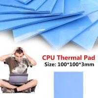 100mmx100mmx3mm Thick Blue GPU/VGA CPU Chip Cool Thermal Conductive Silicone Pad