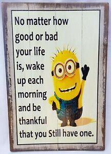 Rustic Wooden SIGN MINION, Affirmation 4 Designs to Choose