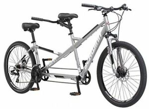 "Schwinn Twinn Tandem Bike 26"" Bicycle 21 Speed Aluminum Frame Gray"