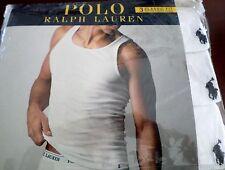 3 Polo Ralph Lauren Men's Classic Fit White Cotton Ribbed Tanks Size M