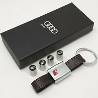 Audi Sline Metal Key Ring + a Set Of 4x Tyre Valve Dust Caps With a Gift Box