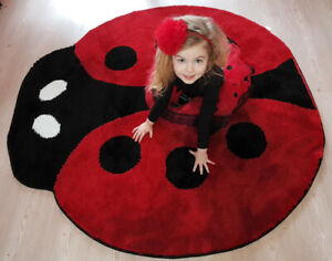 Ladybird Non Slip Machine Washable Rug, Kids Rug, Animal Children Room Carpet