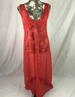Vintage Red Lace Nightgown Full Length Sweep Nylon Nightie Lingerie Medium