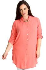 New Womens Shirt Plus Size Ladies Side Slit Plain Top Collar Blouse Long Button