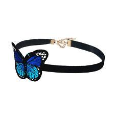 Women's Black Velvet Embroidery Blue Butterfly Pendent Choker Collar Necklaces