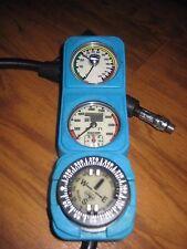 Dacor 3 Gauge Scuba Dive Console 4500 SPG / Pressure, Depth, Removable Compass