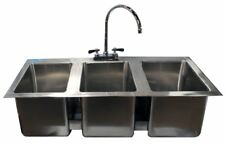 3 Compartment Stainless Steel Drop Sink with Goose Neck Faucet | NSF |
