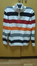 NAUTICA LONG SLEEVE PULLOVER STRIPPED HALF ZIP KNIT TOP BOYS SIZE SMALL (14/16)