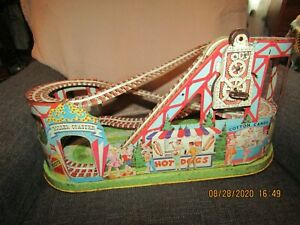 Vintage J Chein Tin Litho Mechanical Windup Roller Coaster toy w/key.  No cars.