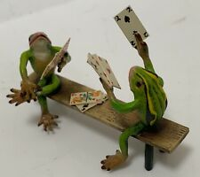 Bergmann Miniature Vienna Bronze FROGS Playing Cards Bench Cold Painted -Austria