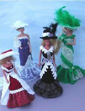 CROCHET FASHION DOLL PATTERN-ICS DESIGNS-306 OLD FASHIONED EVENING GOWNS