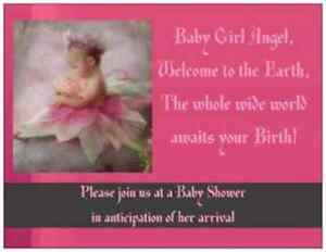20 Baby GIRL Angel Shower INVITATIONS Flat Cards Envelopes Seals