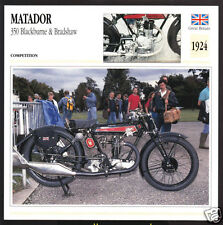 1924 Matador 350cc Blackburne & Bradshaw (348cc) Motorcycle Photo Spec Info Card