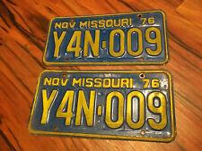 Y4N 009 NOV 1976 Blue & Yellow Missouri License Plate Pair