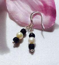 Handmade genuine gemstone jewellery, sapphire & pearl 925 sterling earrings.