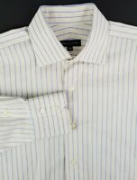 Robert Talbott Mens Dress Shirt Size 16 - 34 White Blue Gold Stripes 100% Cotton