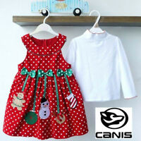 Hot Christmas Party Girl Outfits 2pcs Tops Blouse+Polka-Dot Dress Sets 2-7Y