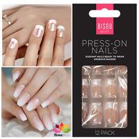 12 Painted Press on False Nails Polished French Manicure Styling Kit Beauty Set