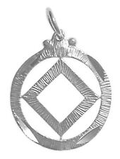 Narcotics Anonymous Sterling Silver Pendant, NA Symbol in a Diamond Cut #44-9
