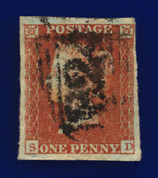 1841 SG8 1d Red Brown B1(1) SD Fair Used Cat £35 cpoy