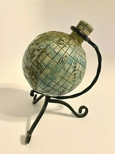 Creative World Tilted Ceramic Globe Decanter on Wrought Iron Stand