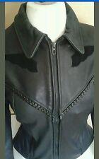 CHROME GEAR Custom Womens Leather Biker Motorcycle Jacket Black Lady Rider 16 M