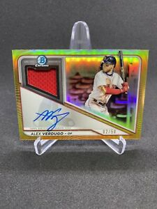 Alex Verdugo 2021 Bowman Chrome On Card AUTO Relic GOLD SP /50 Red Sox Jersey