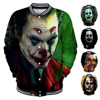 Men Women Coat Shirt Jacket Baseball Uniform Pullover Tops Movie JOKER 3D Print