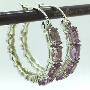 Amethyst Hoop Earrings Sterling Silver Filigree Heart Hoops Pierced 925
