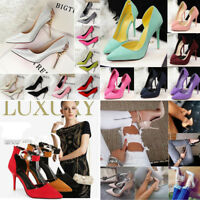Summer Pumps Sandals High Stiletto Heels Leather Pointed Toe Ladies Party Shoes