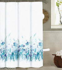 Tahari Fabric Cotton Blend Shower Curtain Lady Floral Field Blue White - NEW