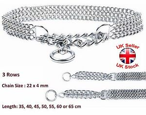 Semi Choke Chain Collar Metal Chrome Training 3 Rows 22 x 4 mm Chain 7 Sizes