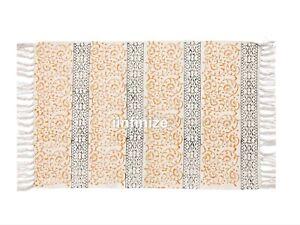 "Handmade Cotton Block Print Area Rug Floor Carpets 4x6"" Ft Traditional Yoga Mat"