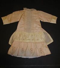 Fancy Peach & Cream Dress for your treasured French or German Bisque Bebe Doll!