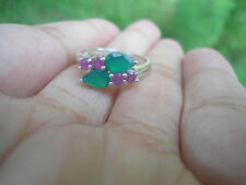 Natural Green Agate & Ruby Birthstone 925 STERLING SILVER Flower RING S5.5