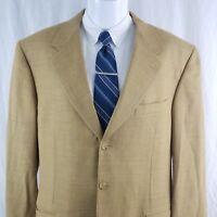 Canali Milano Men's 42 L 3 Button Tan Yellow Wool Sport Coat Blazer Long Jacket